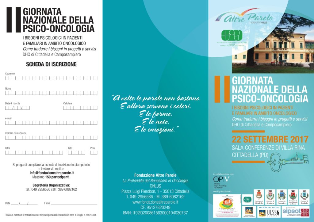 II giornata nazionale psico - oncologia programma Cittadella